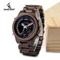 Новые деревянные мужские часы BOBO BIRD  многофункциональные наручные часы с ночным светом и дисплеем в деревянной подарочной коробке