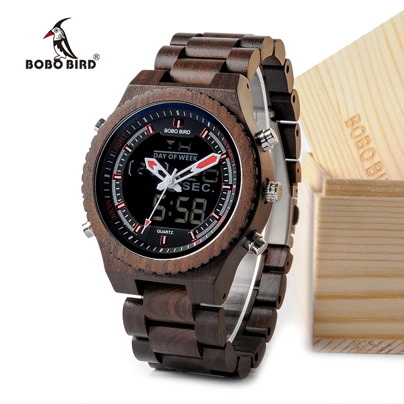 BOBO BIRD New Wooden Mens Watches Multifunctional Wristwatch with Night Light and Week Display in Wooden Gift Box