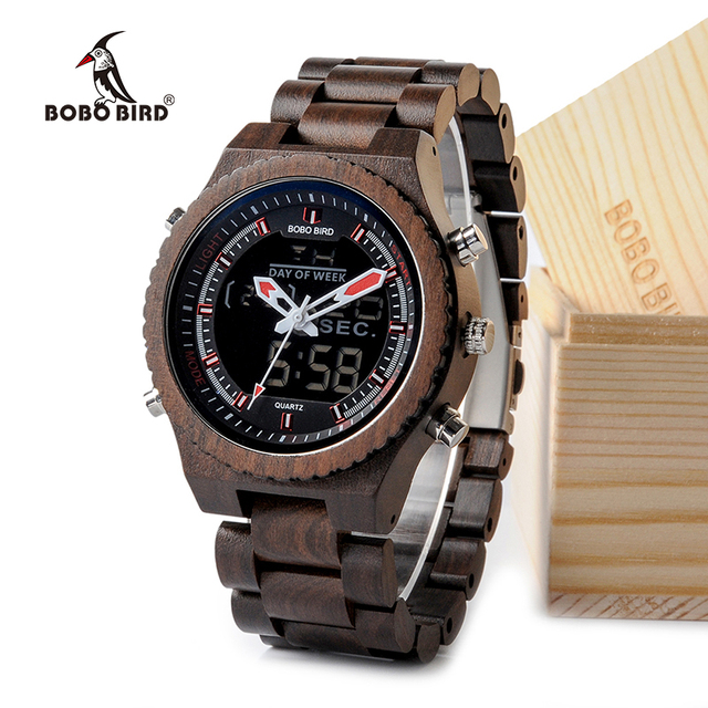 bd2af2fea BOBO BIRD New Wooden Mens Watches Multifunctional Wristwatch with Night  Light and Week Display in Wooden Gift Box