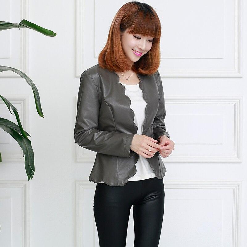 Nerazzurri Autumn Faux   Leather   Jacket Women Short Red Black Blue Gray Slim Scallop Female slim Pu   Leather   Coat Single Button Top