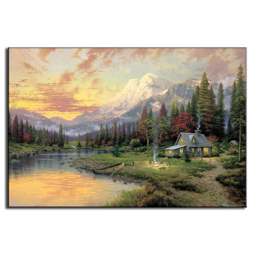 House in the hills landscape oil painting canvas print for Oil paintings for the home