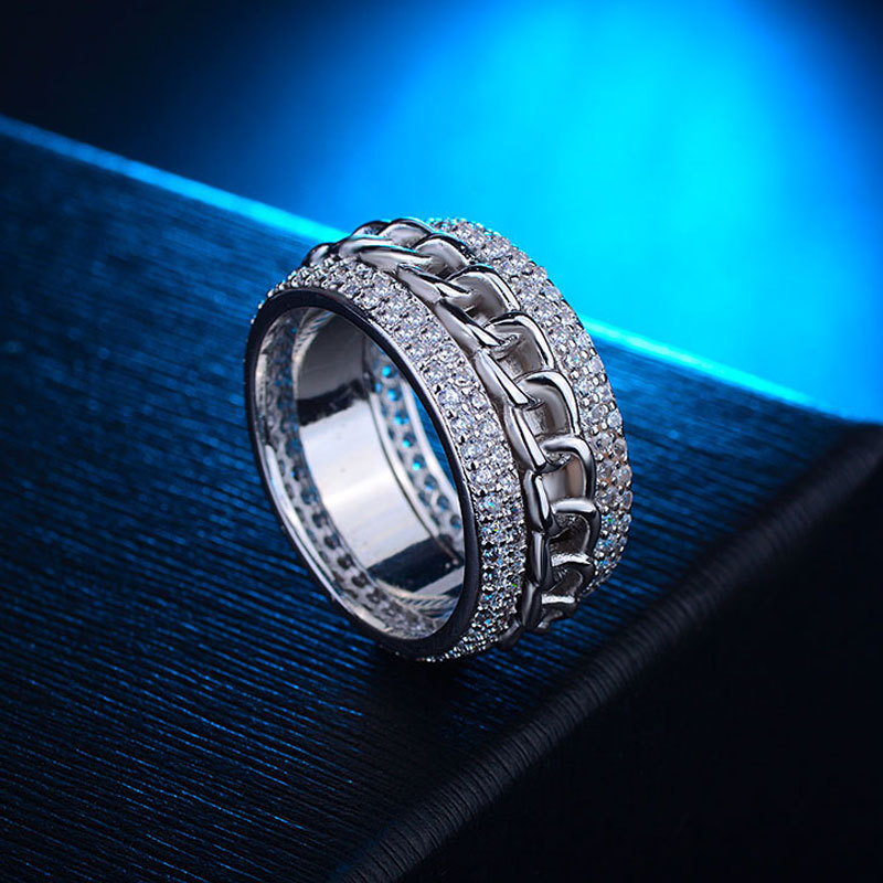 925 Sterling Silver Micropave Crystal Chain Wide Band Ring