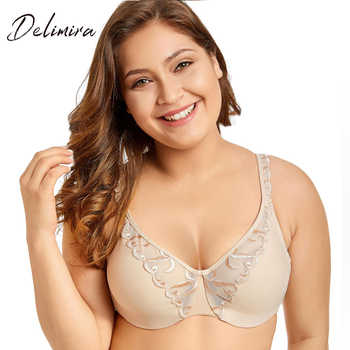 Delimira Women's Non-padded Full Coverage Underwire Minimizer Embroidered  Bra - DISCOUNT ITEM  15% OFF All Category
