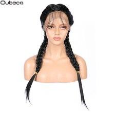 Oubeca largo sintético trenzas senegalesas con encaje frontal pelucas con minimechones parte media negro trenzado pelucas de encaje recto para mujeres