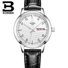 Switzerland Binger watches women fashion luxury relogio feminino ultrathin quartz glowwatch leather strap Wristwatches B3036G-4