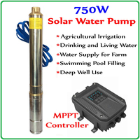 750W DC 48V 72V Brushless high speed solar deep water pump with permanent magnet synchronous motor home & agriculture