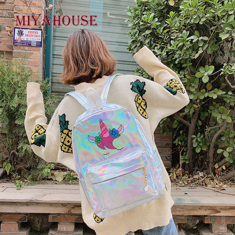 Image 2 - Miyahouse New Fashion Unicorn Design Leather Backpack For Feamle Reflective Laser Women Rucksack Large Capacity Lady School Bag-in Backpacks from Luggage & Bags