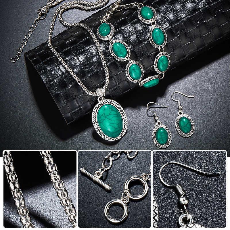 MISANANRYNE ensemble de bijoux ethniques offre spéciale ethnique bleu pierre ensembles de bijoux tibétains anneaux en argent collier boucles d'oreilles ensemble