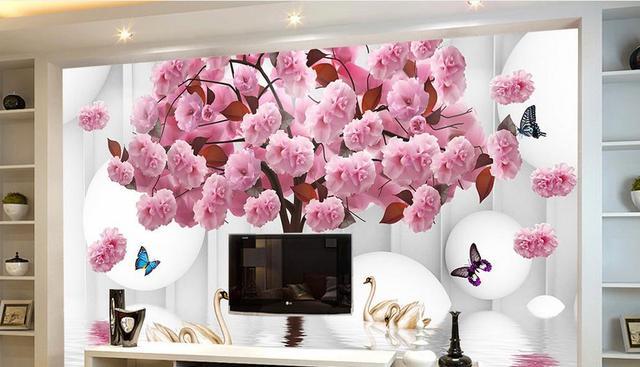 2017 3d Wallpaper Wände Rose Baum Schwan Schmetterling 3D Wandbild ...