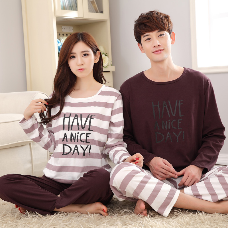 High Quality Full Sleeved Couple Pajama Sets Cotton Women Pyjama Men Pijamas Female Round Neck NightgrownHomeclothing