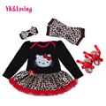 Long Sleeve Cusual Infant Jumpsuit  Black and Leopard Fabric  Rufflesd Tutu Dresses for Baby 1st Birthday Gift 2016 New Arrival