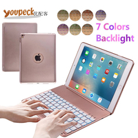 7 Colors LED Backlight Bluetooth Keyboard Cover Slim Aluminum Alloy Buttom Case For For Apple IPAD