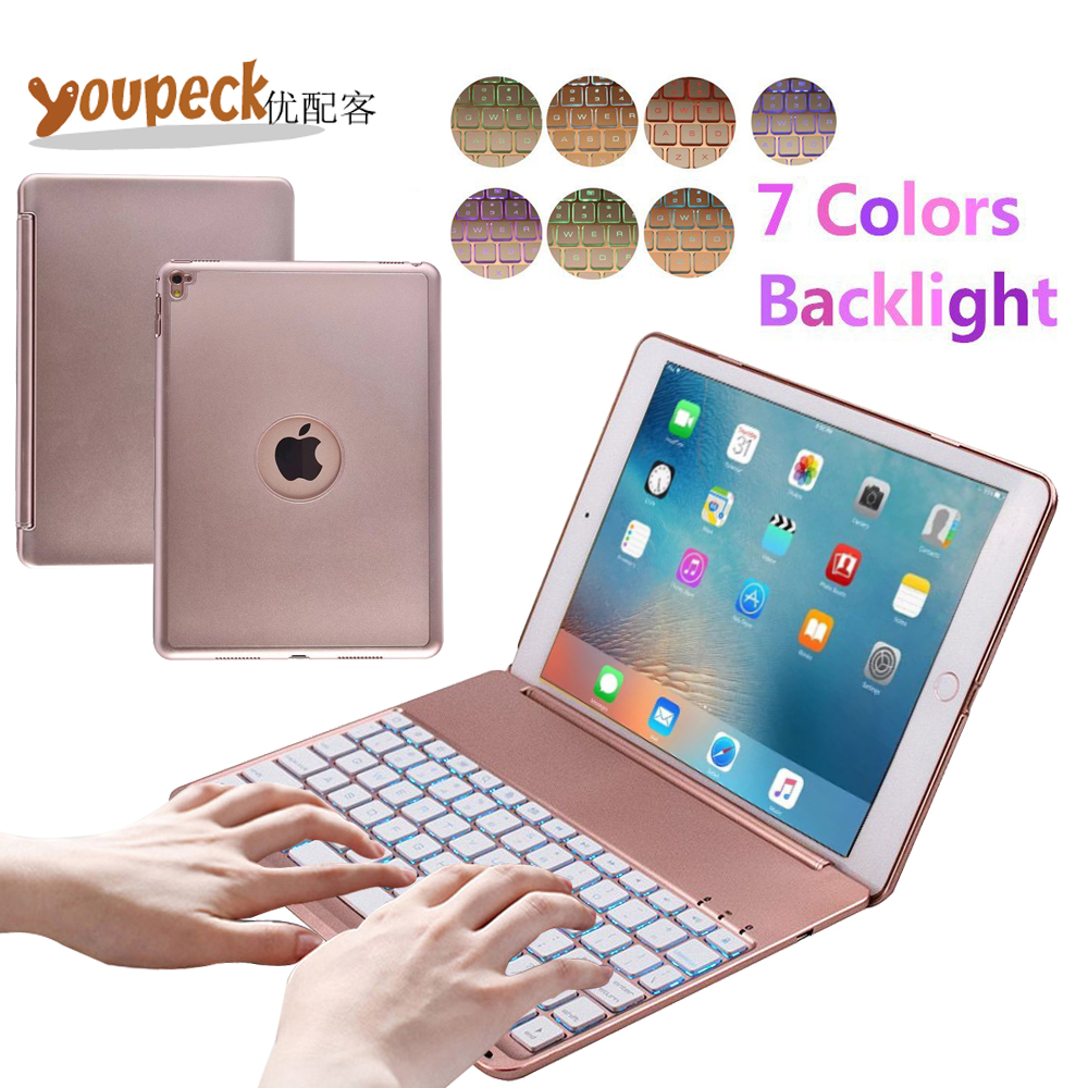 7 Colors LED Backlight Bluetooth Keyboard Cover Slim Aluminum Alloy Buttom Case for for Apple iPAD PRO 9.7 Tablet Hard Shell