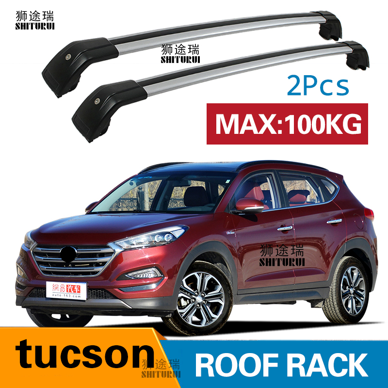 SHITURUI 2Pcs Roof bars For Hyundai tucson SUV 2015-2018 Aluminum Alloy Side Bars Cross Rails Roof Rack Luggage shiturui for skoda fabia ultra quiet truck roof bar car special aluminum alloy belt lock