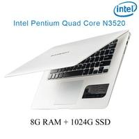 """מקלדת ושפת os זמינה לבן 8G RAM 1024G SSD אינטל פנטיום 14"""" N3520 מקלדת מחברת מחשב ניידת ושפת OS זמינה עבור לבחור (1)"""