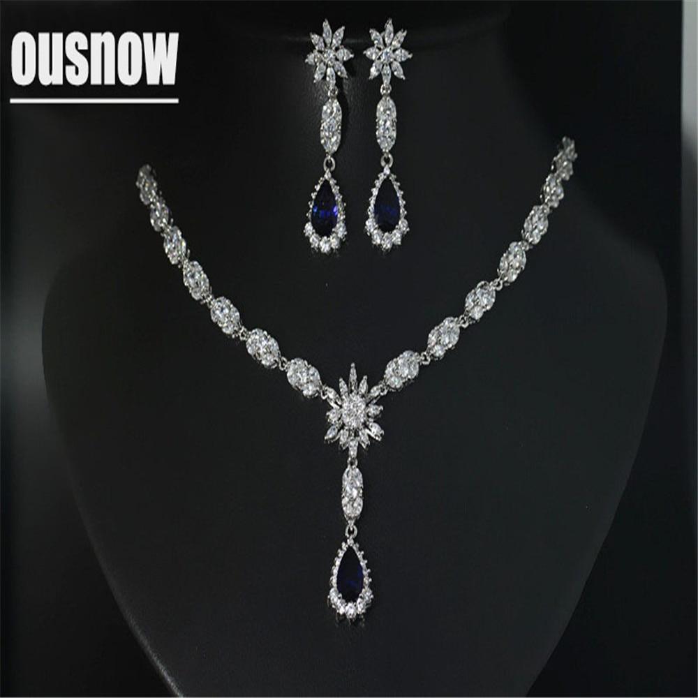 Bijoux de luxe de mode 925 ensemble pendentif en argent collier et boucle d'oreille ensemble de cristal de fête de style austrianlarme
