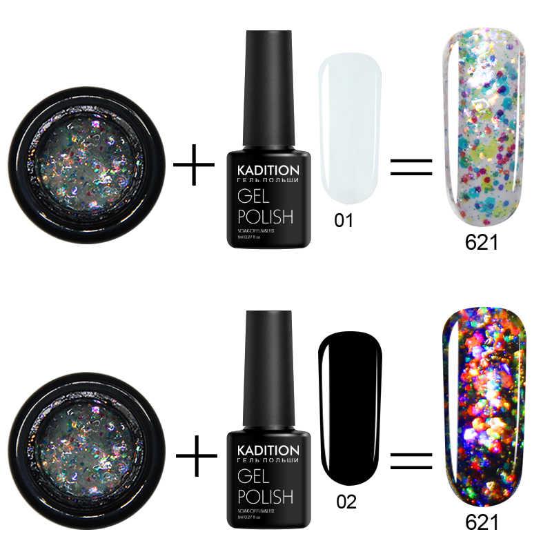 KADITION Super Brilho do Flash Diamante Cor Gel Cristal Pintura Laca Nail Art Glitter Diamantes brilho Soak off Gel UV Do Prego polonês