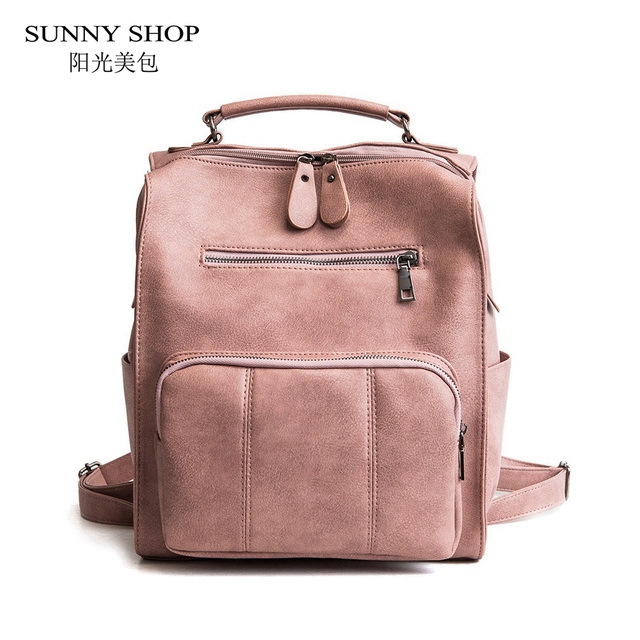 SUNNY SHOP Vintage Stylish Women Backpack Pink Casual Travel Leather Girls  Daypack High Quality Female Zipper School Bags A4 Bag 455d2c988a9e7