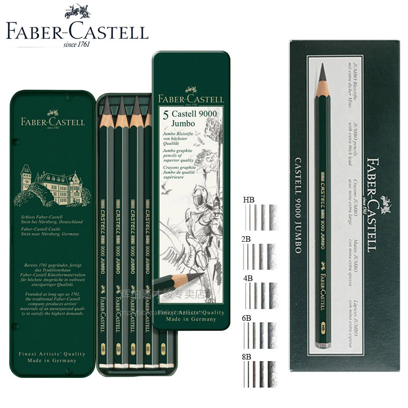 Faber-castell 9000 Jumbo Graphite Dessin Crayons 5 pcs/6 pcs/lot 0.53mm Plomb Art Croquis Crayon HB 2B 4B 6B 8B Pro Constructeur Crayons