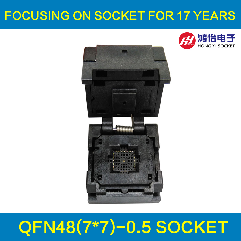 QFN48 Burn in Socket QFN48 MLF48 IC Test Socket Pitch 0.5mm Clamshell Chip Size 7*7 Flash Adapter Programming Socket qfn48 burn in socket qfn48 mlf48 ic test socket pitch 0 5mm clamshell chip size 7 7 flash adapter programming socket