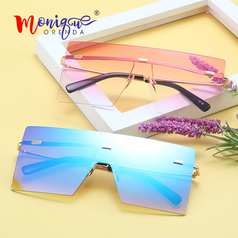 Oversized Sunglasses Big-Frame Eyewear Shades Rimless Gradient Designer Men Retro Women