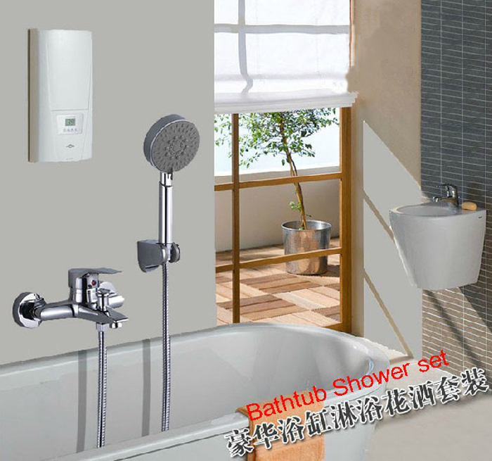 Chrome Plated Bathroom Bathtub Shower mixer Set  Bath Shower Faucet With 5-Function Hand Shower Free Shipping sognare new wall mounted bathroom bath shower faucet with handheld shower head chrome finish shower faucet set mixer tap d5205