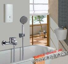 Хромированный Ванная Комната Ванна смеситель Для Душа Установить Ванна Смеситель Для Душа С 5-функция Ручной Душ Бесплатная Доставка