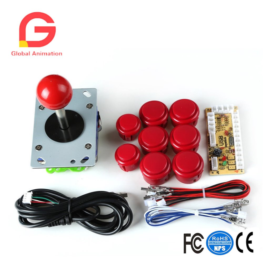 Arcade Game Kit DIY Parts for Retropie: PC USB Encoder+Joysticks+Push Buttons