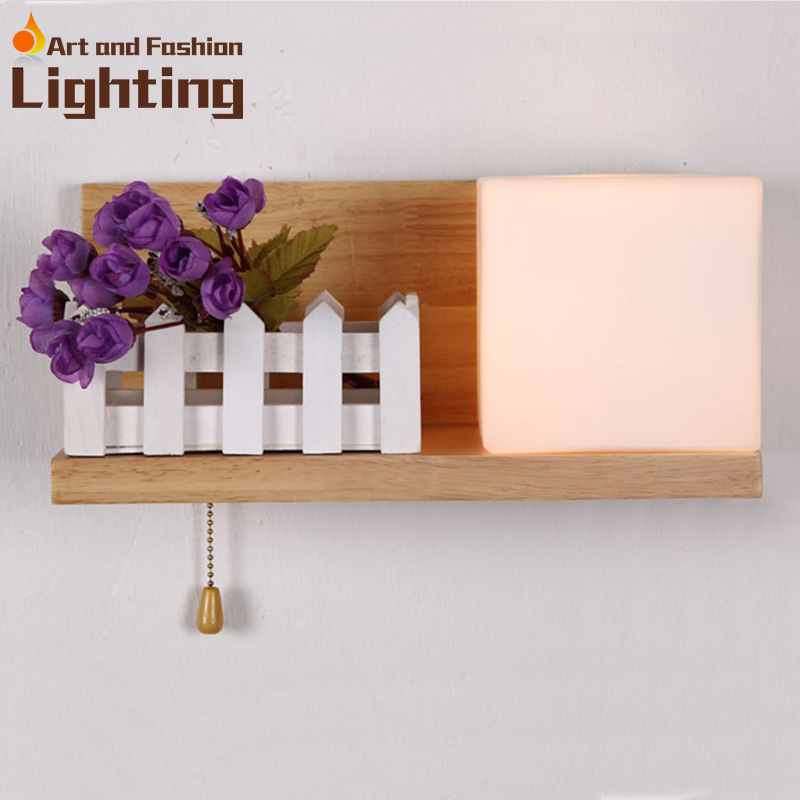 ФОТО Special wooden wall lamp hallway corridor light toilet table light LED light Pullswitch