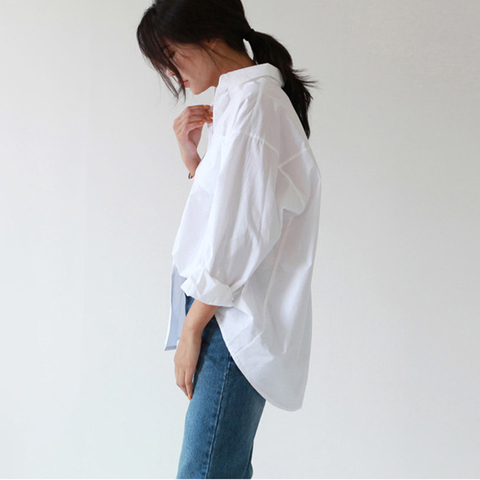 BGTEEVER Plus Size OL Style One Pocket Single Breasted Women White Shirts Turn-down Collar Autumn Blouses Casual Female Tops Lahore