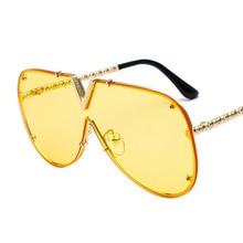 Fashion Personality Trends Men's V-Sunglasses Sunglasses Siamese Personality Glasses Sunglasses