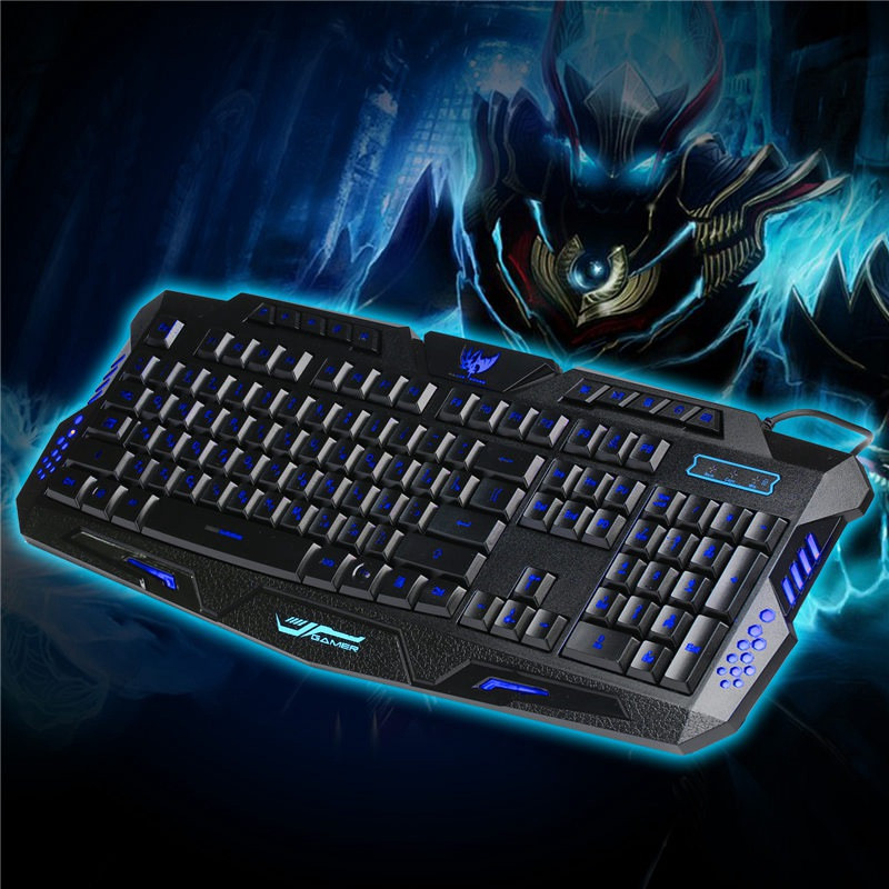 A877 Russian Version Backlight Keyboard Wired Red/Purple/Blue Adjustable Gaming Keyboard Computer Gamer Keyboard For LOL PC ...