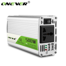 Onever Convertidor de potencia con Doble Adaptador de cargador de coche USB, transformador de voltaje de CC a ca de 12 V a 500 V, 12 V y 220 V, 220 W