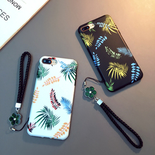 Cute Girl With Lanyard Leaf Pattern Phone Cover Case For Iphone X Xs Max Xr 10 8 7 6 6s Plus Luxury Soft Silicone Coque Fundas