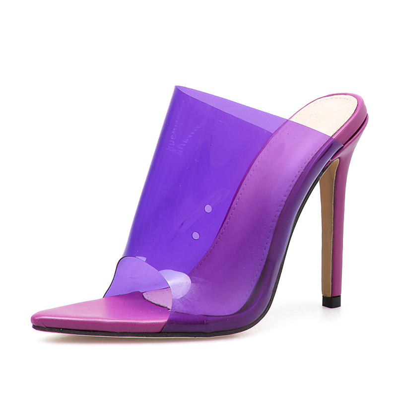 9fa3799ed1a 2019 Summer Candy colors Jelly Women Slippers Pointed toe Thin high heels  Transparent Perspex Ladies Slides Sandals shoes woman