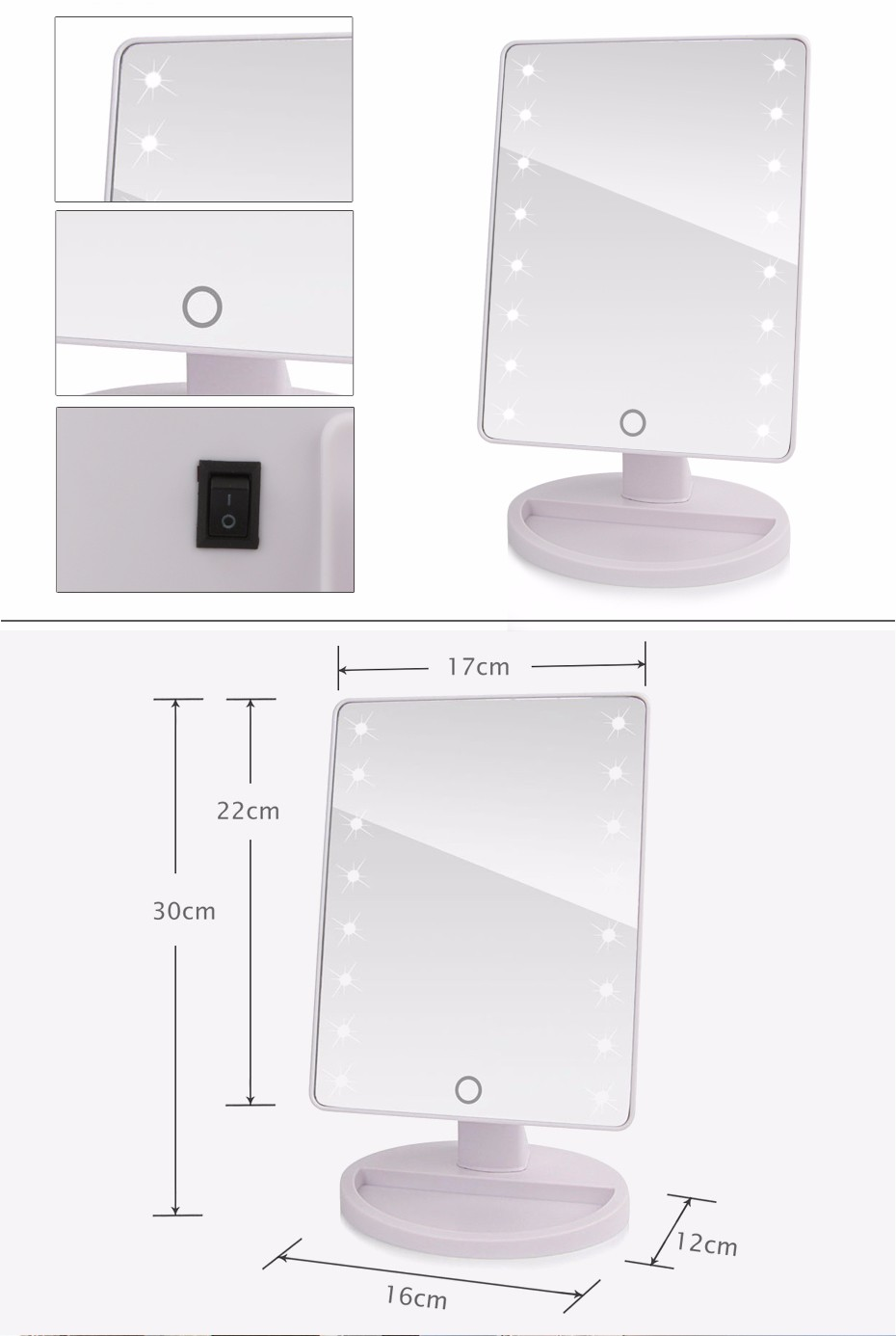 LED Lights Adjustable Touch Screen Makeup Mirror 1X 10X USB Or Batteries