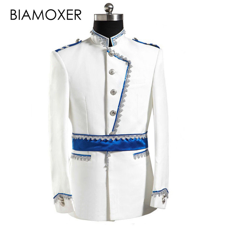 Biamoxer Renaissance Men Jacket Pant Full Set White Halloween Party King Prince Cosplay Costume