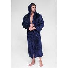 Flannel mens bath robe thick couple bathrobes plus size women fur solid warm winter pajamas long sleevee robes Da5460