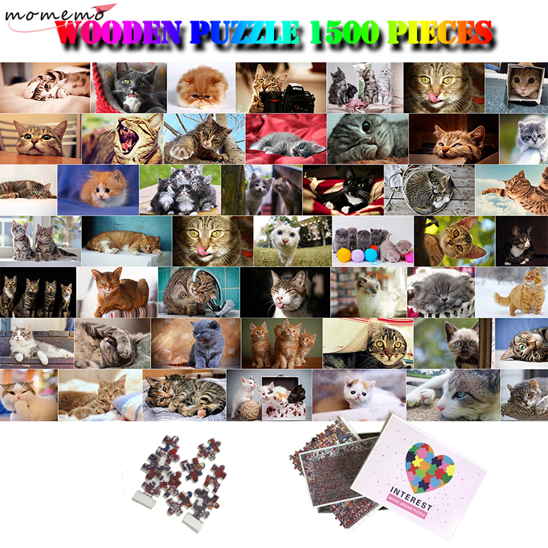 MOMEMO Cats Creative <font><b>Jigsaw</b></font> <font><b>Puzzle</b></font> Wooden <font><b>1500</b></font> <font><b>Pieces</b></font> <font><b>Puzzle</b></font> Adults <font><b>Puzzles</b></font> Cute Cats Collection Animals <font><b>1500</b></font> <font><b>Pieces</b></font> <font><b>Puzzle</b></font> Toys image