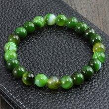 Neue Mode Chakra Strang Armband Grün Streifen Balance Perlen Buddha Gebet Natürliche Stein Schmuck Yoga Perle Armbänder Für Frauen