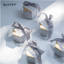 RMTPT 50pcs New Creative Marbling style Gift Box Wedding Favors Party Supplies Baby Shower thanks Candy Boxes