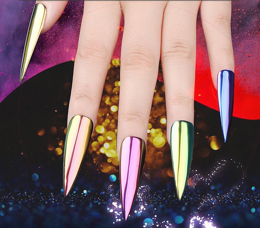 Nuevo metal cromo Esmaltes de uñas Polvos de maquillaje pigmento ...