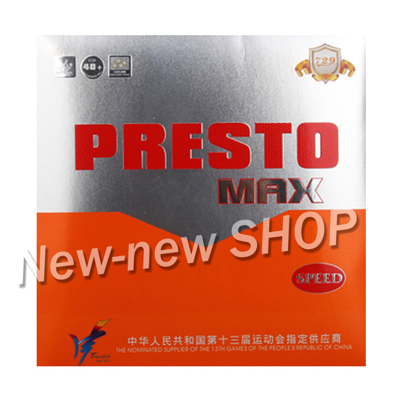 Friendship 729 PRESTO MAX (2019 New) Spin / Speed (Non-tacky Rubber + Macroporous Sponge) Table Tennis Rubber Ping Pong Sponge