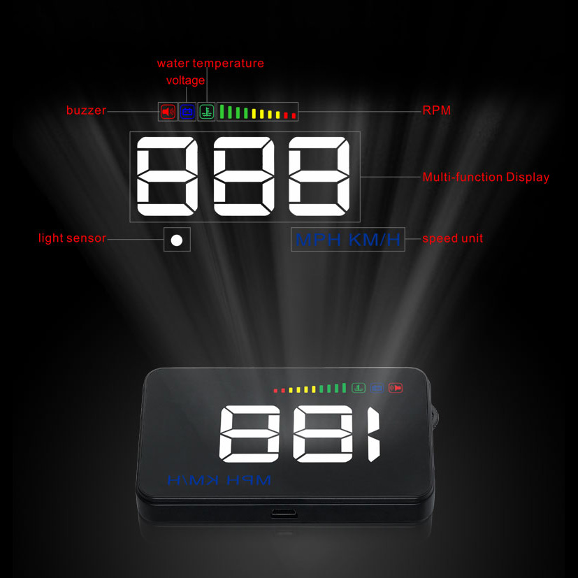 HD Hud head-up display car speed projector universal car-styling windshield projector OBD2 GPS digital car speedometer alarm a8 car hud head up display car speedometer 5 5 inch windscreen projector obd2 code reader speed alarm voltage mph km h display