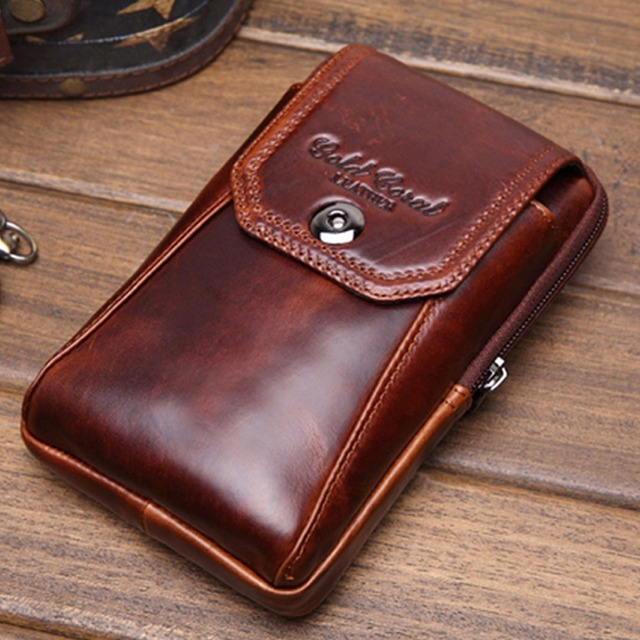 High Quality Men Genuine Leather Cowhide Hook Cell Mobile/Phone Case Cigarette Belt Hip Fanny Bag Waist Pack Coin Purse Pouch
