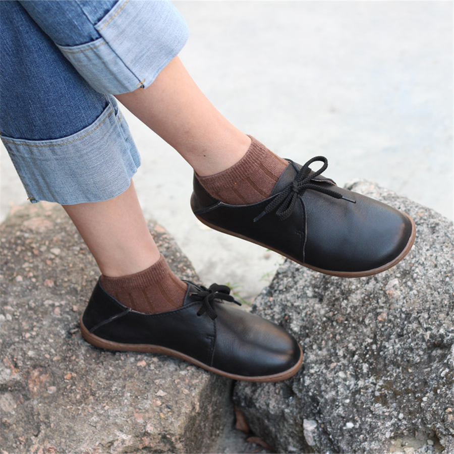 Women Genuine Leather Flat Shoes Barefoot Casual Shoes Woman Flats Ballerinas Sneakers Female Footwear Shoes 2019 Black Brown
