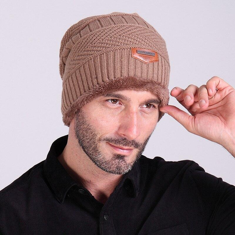 Men Winter Cotton Hat Wool Thicken Warm Caps Winter Flannel Warm Knitted Caps Men's Outdoor Hat Bonnet Knitted   Skullies     Beanies