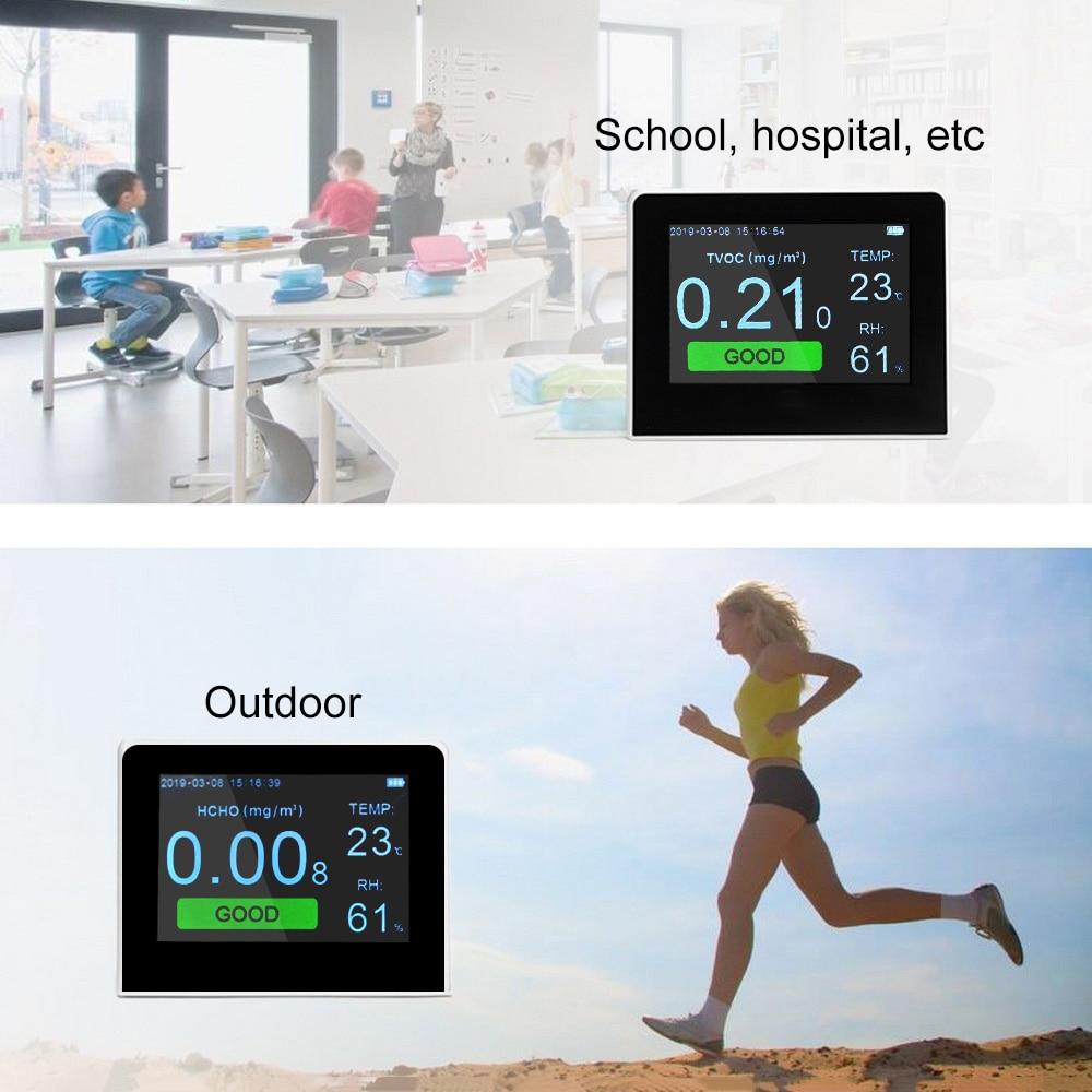 PM1.0 PM2.5 PM10 HCHO TVOC Detector Analisador De Gás com Medidor De Umidade da Temperatura Formaldeyde Analisadores de Gás da Qualidade Do Ar