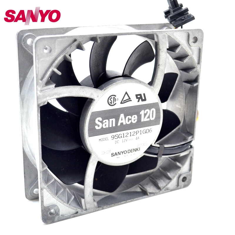 SANYO  New 12cm high temperature fan speed fan violence 12038 12V 4A 9SG1212P1G06 delta new ffr1212dhe 12038 12cm super fan 12v 6 3a car booster fan violence 120 120 38mm