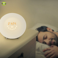 Newest 3 In 1 Multi Functions Simulation Wake Up Light Led Alarm Clock FM Radio Snooze